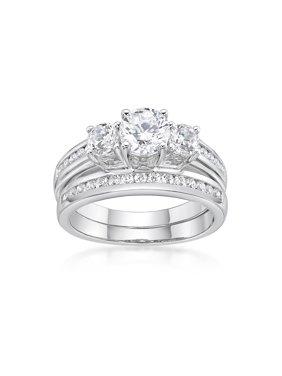 Sterling Silver Simulated Diamond Bridal Set Ring