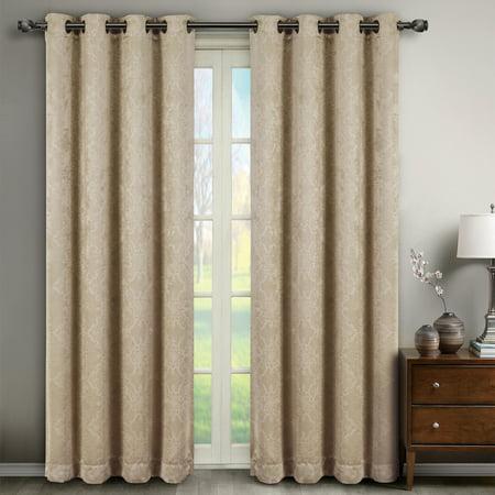 Bella Pair (Set of 2) Blackout Weave Embossed Grommet Energy-efficient Curtain Panels - Beige - 104x96