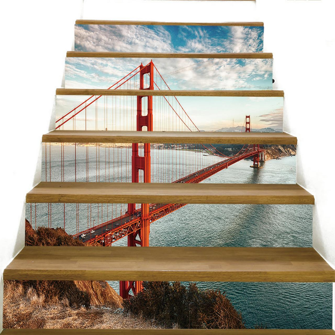 Details about  /6PCS 3D Stair Riser Staircase Sticker Photo Mural Vinyl Decal Scenery Wallpaper