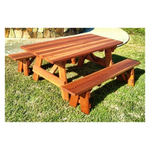 Best Redwood Outdoor Farmers Picnic Table and Benches