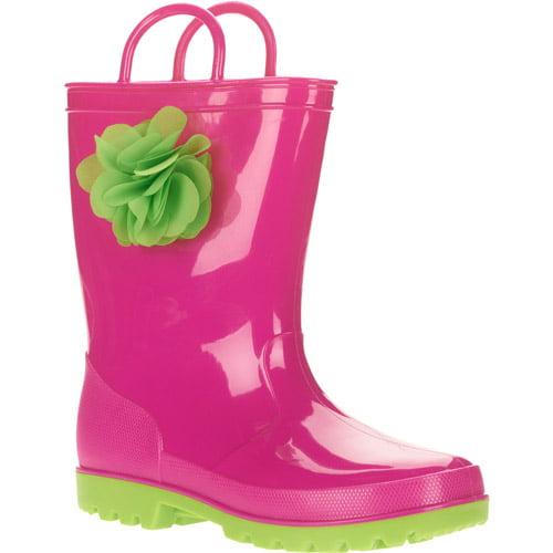 Girls Pink Rainboot with Green Flower Embellishment