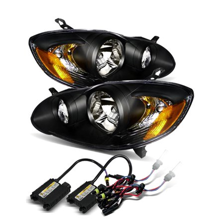 - *6000K White HID* For 03-08 Toyota Corolla JDM Black Crystal Headlights Lamps