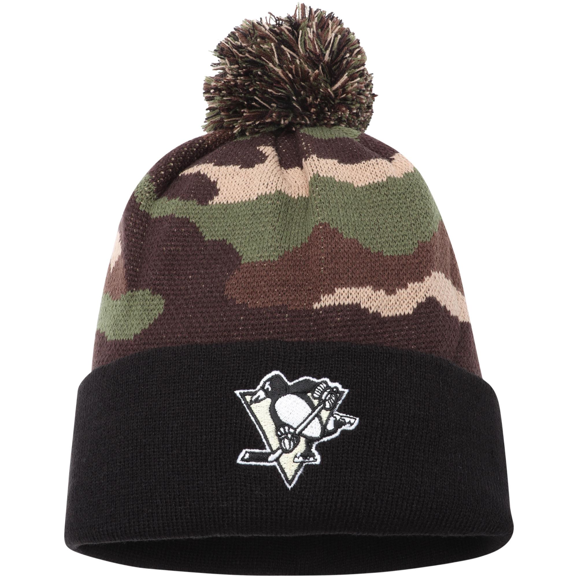 Pittsburgh Penguins American Needle Cuffed Pom Knit Hat - Camo - OSFA