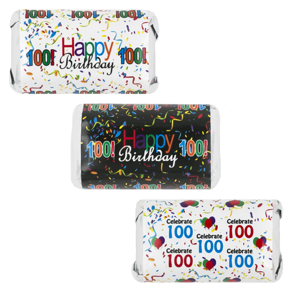 Happy 100th Birthday Party Decoration Stickers for Hershey's Miniatures Candy Bars (Set of 54)