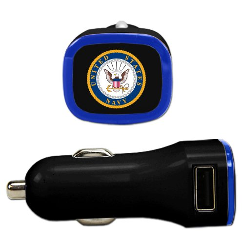 US Navy - Dual USB Car Charger Black