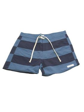 SATURDAYS NYC Men's Offset Stripe Board Shorts Azure/Navy