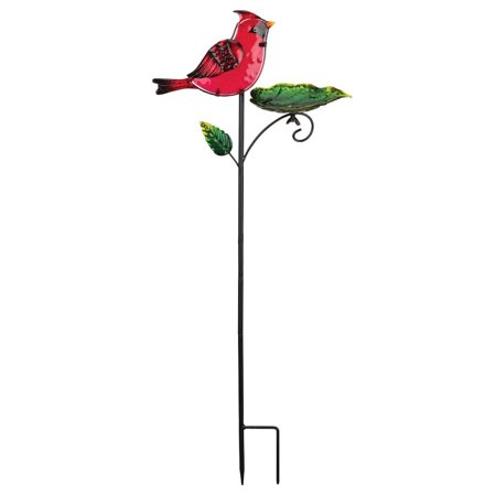 "Regal Art  and  Gift 11972 - 30"" Metal / Glass Cardinal Bird Feeder Stake"