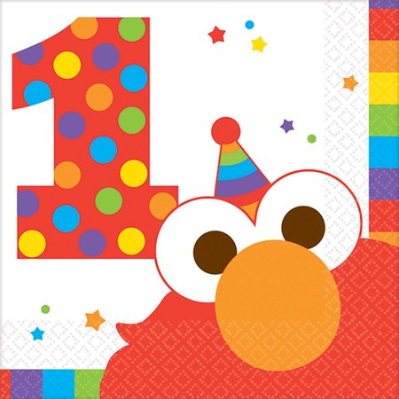 Elmo Turns One Beverage Napkins (16 (Elmo Beverage)