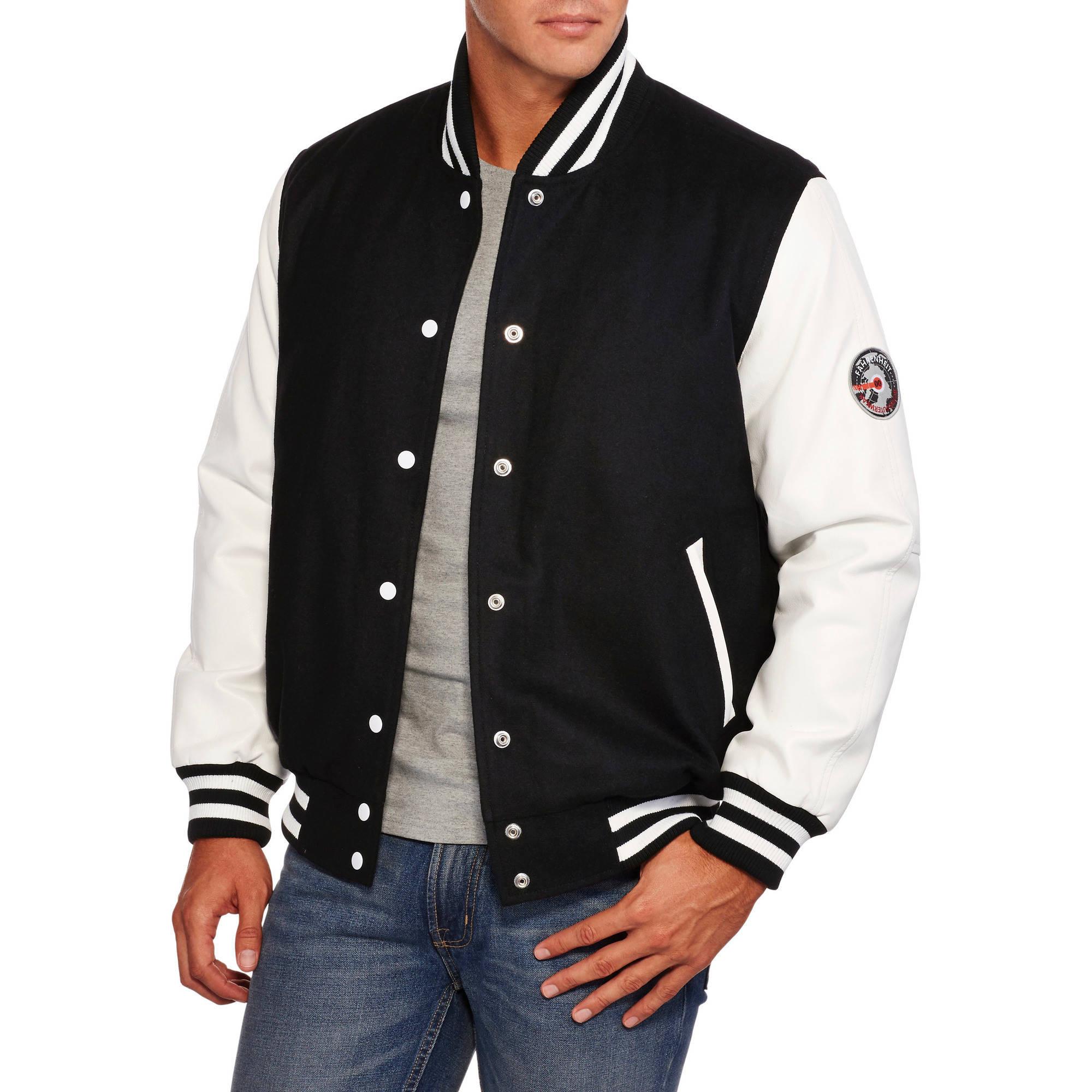 Big Men's Wool Blend Bomber Jacket with PU Sleeves