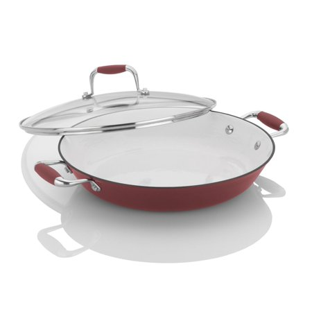 Fagor Michelle B. 12-Inch Cast Iron Lite Chef's Pan with Glass Lid, (Glass Icon)