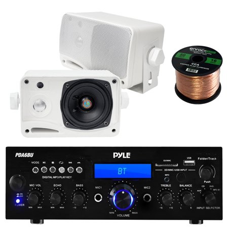 Pyle PDA6BU USB/SD-Card 200-Watt Bluetooth Stereo Amplifier Receiver, 2x Pyle 3.5