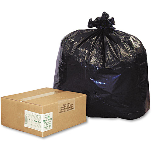 Earthsense Commercial Black Can Liners, 40-45 gal, 100 ct