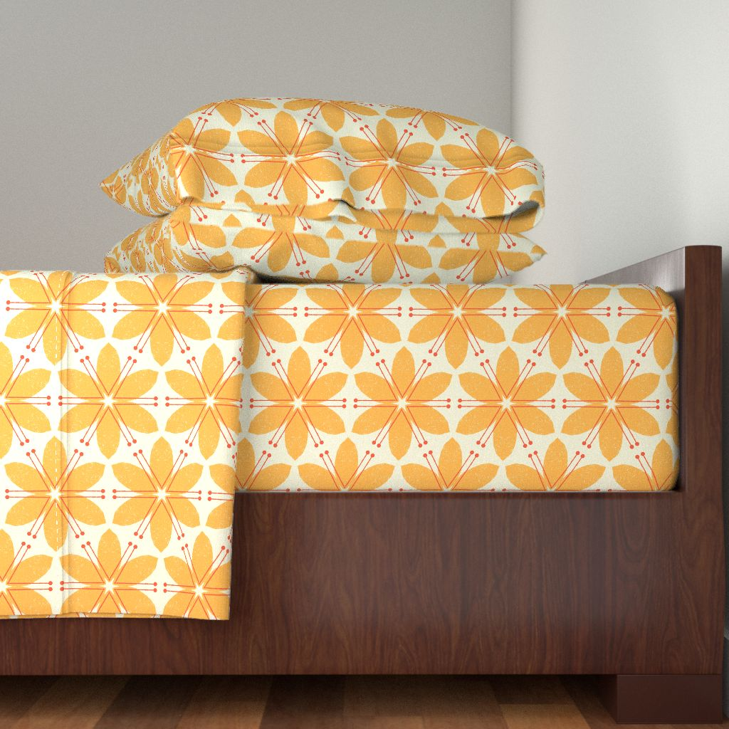 Bold Yellow Floral Big Orange Flowers 100% Cotton Sateen Sheet Set by Roostery