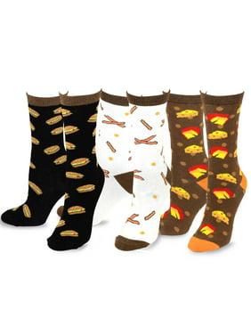 TeeHee Women's Foods Crew Socks 3-Pack (Bacon and Cheese)