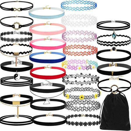 Tuscom 30Pieces Choker Necklace Set Stretch Velvet Classic Gothic Tattoo Lace Choker