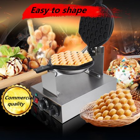 Bubble Waffle Maker 110V Electric Non stick Hong Kong Egg Waffler Iron Griddle ()