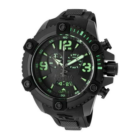 11176 Men's Arsenal Black Dial Rubber Strap Black IP Steel Chronograph - Chronograph Steel Watch