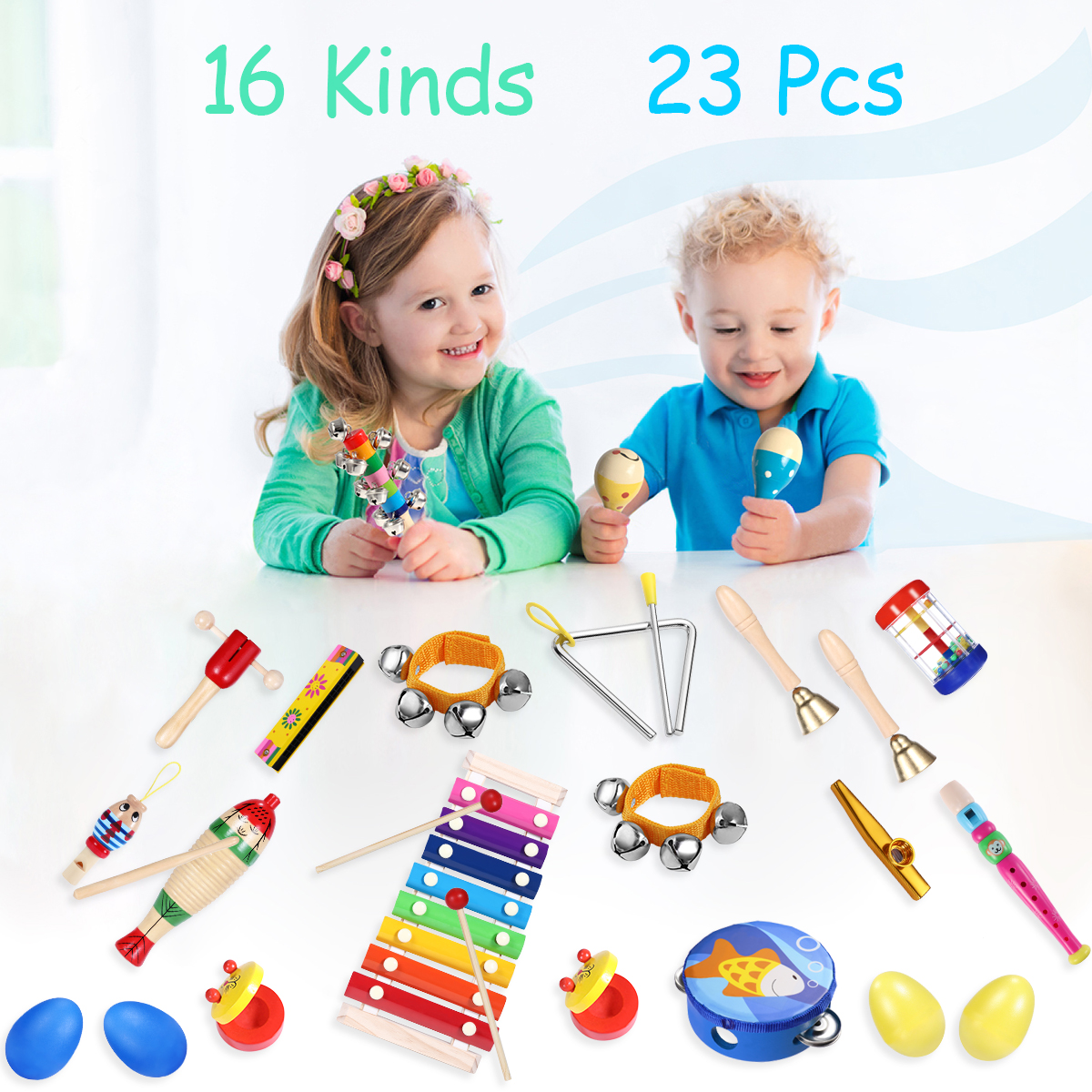 24Pcs Shisay Musical Instruments for Toddlers 24Pcs Set with Backpack Childrens Wooden Percussion drum bells whistle Musical Instruments Promote Early Education for Kids Boys Girls