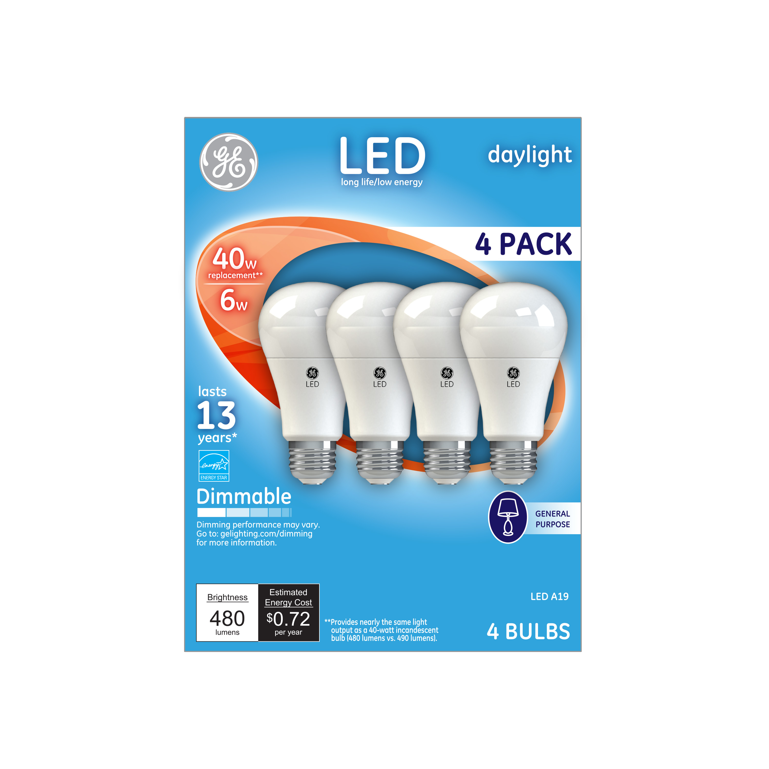 GE LED 6W Daylight General Purpose A19 Dimmable 4pk
