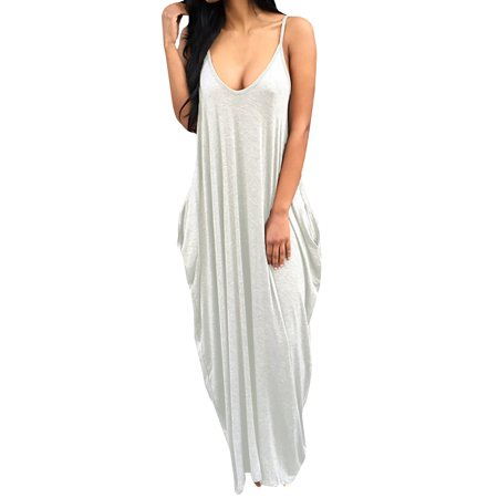 Ankle Length Dress - Womens Slip Plunging Long Ankle Length Loose Dresses