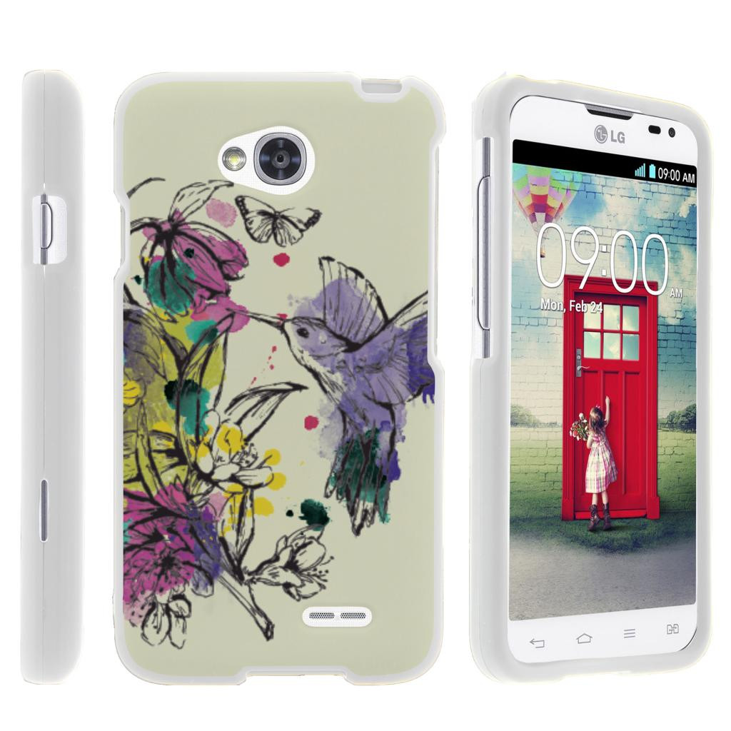 LG Optimus L70, Ultimate 2, Optimus Exceed, [SNAP SHELL][White] Hard White Plastic Case with Non Slip Matte Coating with Custom Designs - Hummingbird Flowers