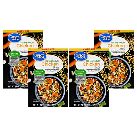 4 Pack Great Value Reduced Sodium Chicken Broth Value Size 48 Oz