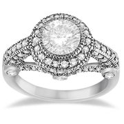 14k Gold 1ct TDW Vintage Diamond Halo Art Deco Engagement Ring Setting (G-H, SI1-SI2) 14k White Gold - Size 3