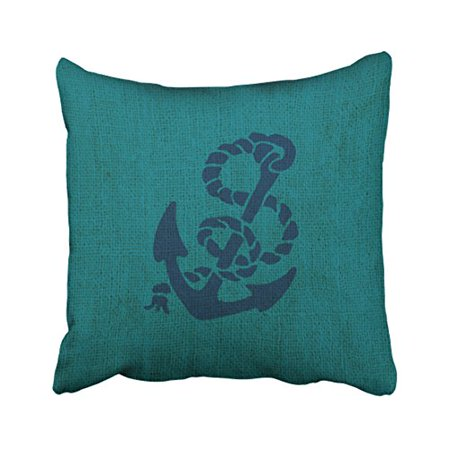 WinHome Square Throw Pillow Covers Nautical Anchor And Rope Ocean Green Blue Pillowcases Polyester 18 X 18 Inch With Hidden Zipper Home Sofa Cushion Decorative Pillowcase