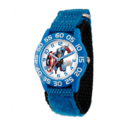 Marvel Captain America Boys' Plastic Case Watch, Blue Nylon Strap