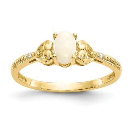 Roy Rose Jewelry 10K Yellow Gold Opal Diamond Ring - Size: 7