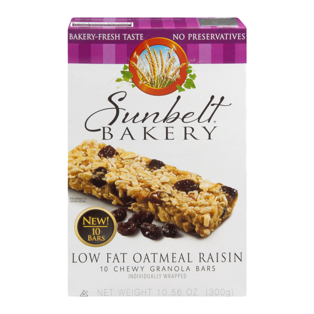 Sunbelt Bakery Granola Bars Oatmeal Raisin Chewy Low Fat - 10 CT