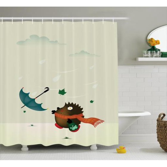 Hedgehog Shower Curtain A Baby Animal With Scarf Trying To Catch Her Umbrella On Windy And Rainy Day Fabric Bathroom Set Hooks 69W X 75L Inches