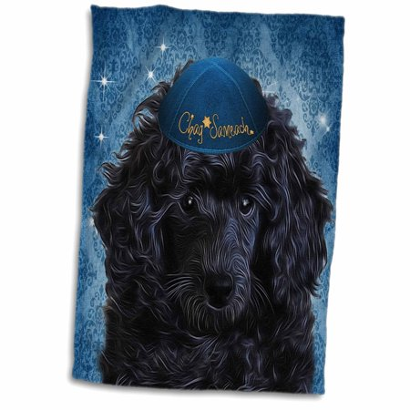 3dRose Cute Black Toy Poodle Puppy in a Yamaka for Hanukkah in Blue - Towel, 15 by 22-inch ()