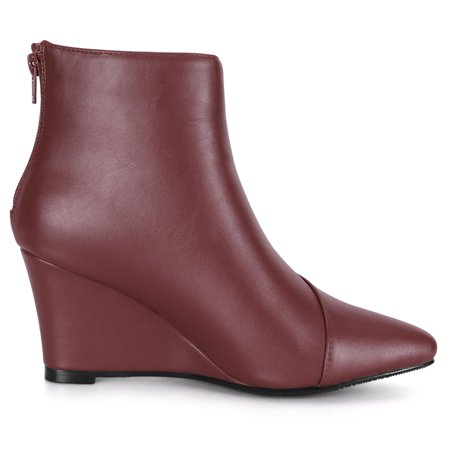 Women's Pointed Toe Zipper Wedge Boots Burgundy US 6 - image 2 of 7