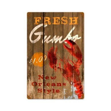 Past Time Signs PTS222 Fresh Gumbo Food And Drink Vintage Metal