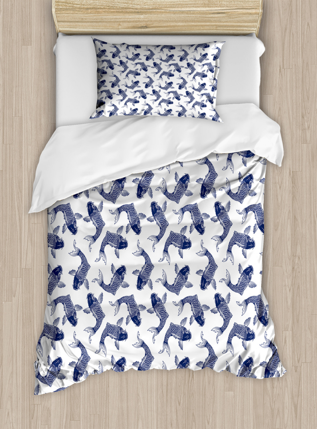 Violet Blue Lillies Marine Life Colorful Watercolor Drawing of Divine Animal Decorative 2 Piece Bedding Set with 1 Pillow Sham Twin Size Lunarable Koi Fish Duvet Cover Set