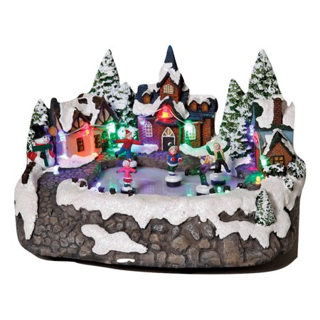 animated christmas snow village town ice skating rink scene light up collectible - Animated Christmas Village