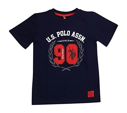 U.s. Polo Assn. Little Boys' Felt Appliqued Crew Neck T-shirt (5/6, Classic Navy)