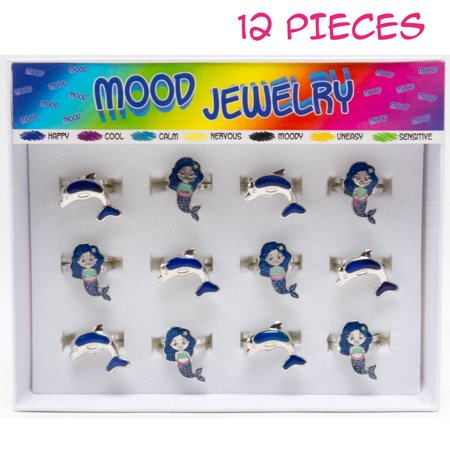 FROG SAC 12 PCs Unicorn Mood Rings Tray for Girls, Kids, Tween - Cute Color Changing Ring Set - Great Party Favors, Stocking Stuffers, Fun Mood Jewelry for Children (Mermaids & Dolphins) (Tween Halloween Party Crafts)