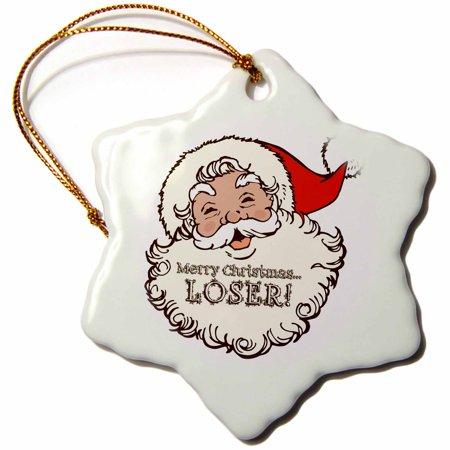 3dRose Merry Christmas Loser- Funny Laughing Santa Design - Snowflake Ornament, 3-inch