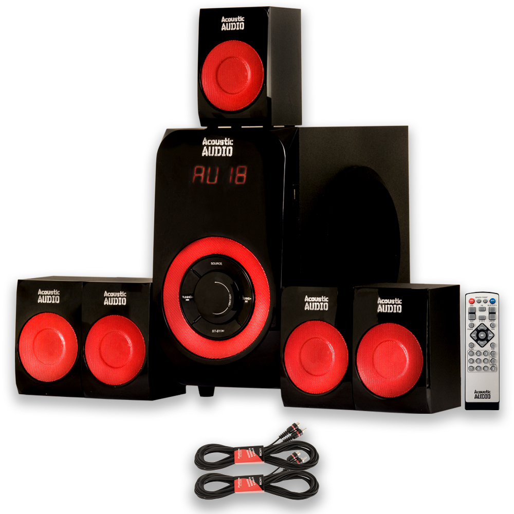 Acoustic Audio AA5180 Home Theater 5.1 Bluetooth Speaker System with USB and 2 Extension Cables
