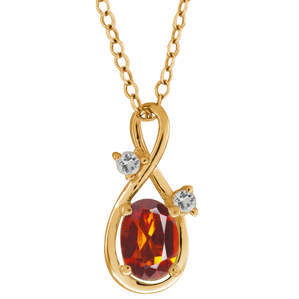 0.78 Ct Oval Orange Red Madeira Citrine and Topaz 14k Yellow Gold Pendant