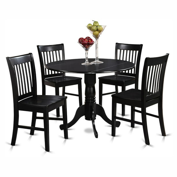 Silver Dining Table And Chairs, East West Furniture Dublin 5 Piece Drop Leaf Dining Table Set With Norfolk Wooden Seat Chairs Walmart Com Walmart Com