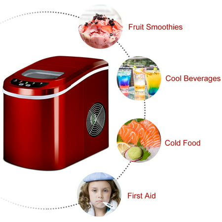 Costway Portable Compact Electric Ice Maker Machine Mini Cube 26lb / Day Red - image 7 of 10