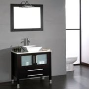 8111-BN 36 Solid Wood & Porcelain Single Vessel Sink Vanity Set with a Brushed Nickel Faucet""