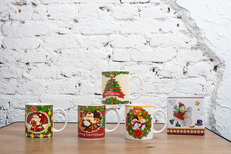 All For You X974 Christmas New Bone China Mug with Christmas Gift Prints Santa , Christmas... by All For You Home