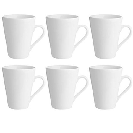 GHP 6-Pcs White Porcelain Dishwasher & Oven Safe Kitchen Dining 11-Oz Coffee Mugs