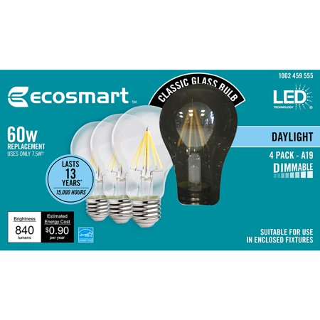 Ecosmart 60 Watt Equivalent A19 Dimmable Energy Star Clear Filament Vintage Style Led Light Bulb Daylight 4 Pack