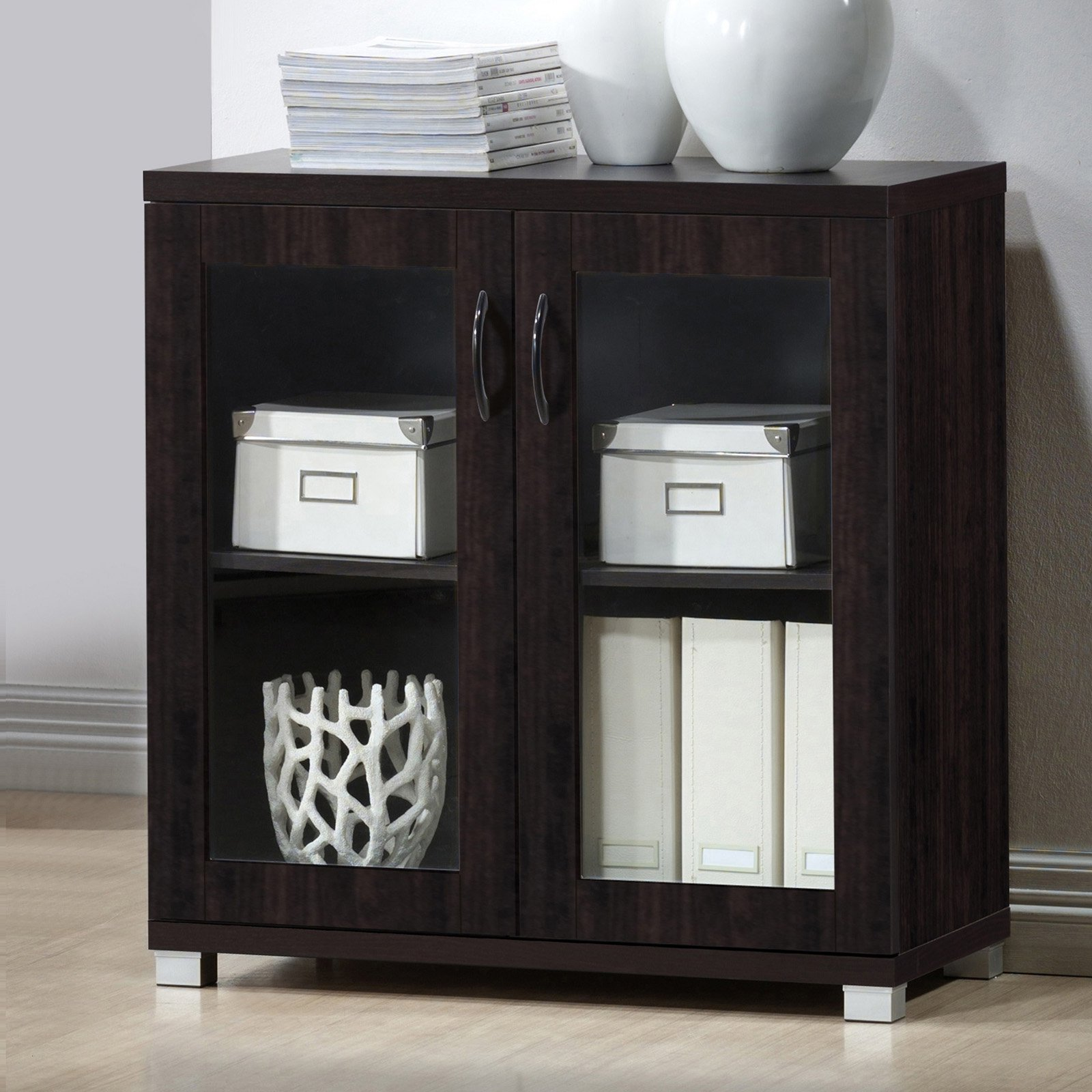Baxton Studio Zentra Modern and Contemporary Dark Brown Sideboard Storage Cabinet with Glass Doors