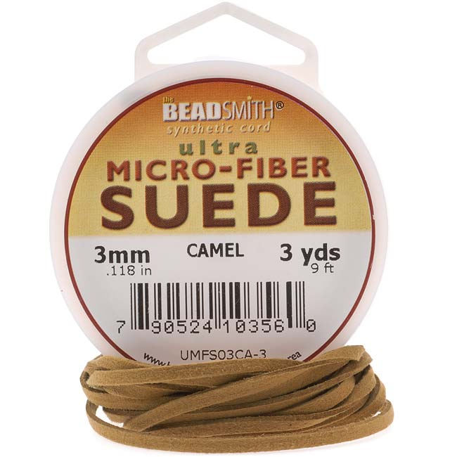 Beadsmith Tan Camel Faux Leather Suede Beading Cord 9Ft (3 Yd) Spool